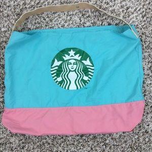 Starbucks tote foldable nylon EUC Pink and Blue